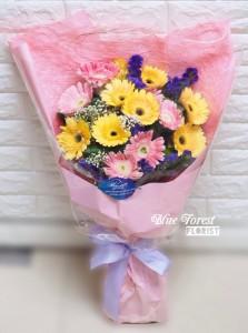 雙色太陽花畢業花束(香檳/粉紅)