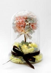 Little Lemon tree *玻璃罩繡球保鮮花(配led星星燈)*可免費刻上名或祝福字句