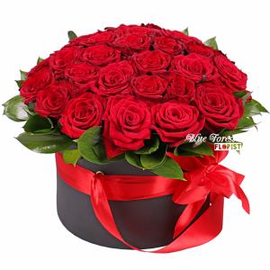 28枝肯亞紅玫瑰花盒