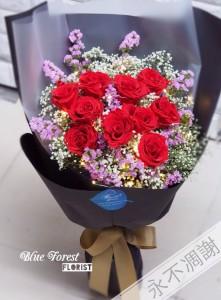 10支裝日本保鮮花玫瑰花束(紅色)