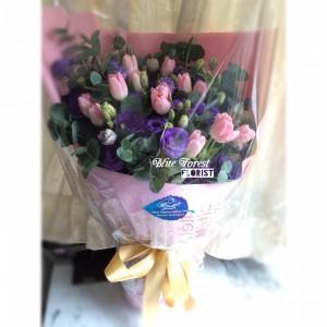 * 夢幻粉紫*10支荷蘭鬱金香花束