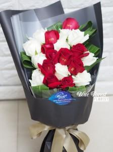 Speaking Rose*雙色玫瑰花束20枝裝(可制作收花人名或祝福字句)