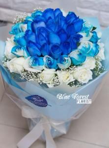 創意款式*30枝3色漸變藍玫瑰花束