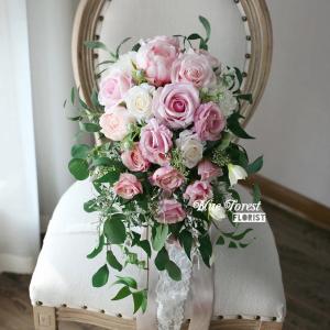 粉白玫瑰水滴型花球