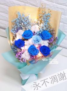 保鮮•愛*永不凋謝玫瑰保鮮花花束(淺藍色+深藍色)