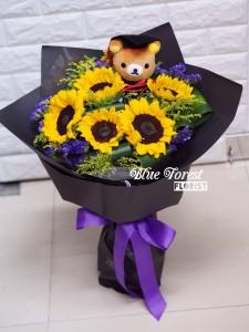*向日葵五支裝畢業花束