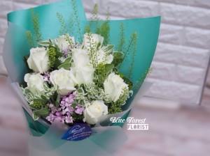 *Tiffany blue*純白玫瑰田園風格花束