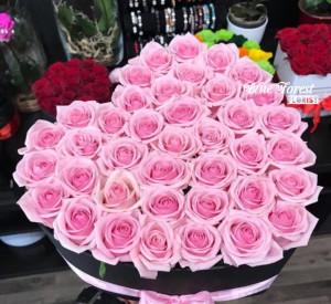 40枝心形粉紅玫瑰花盒