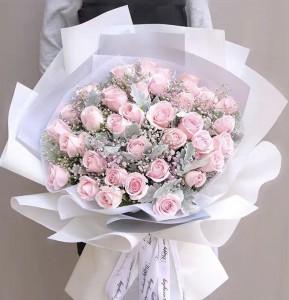 小清新*36/50枝淡粉紅玫瑰配滿天星花束