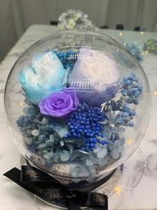 *幸福水晶球系列 *玻璃罩玫瑰保鮮花(3拼色)Garden Rose)*可免費刻上名或祝福字句