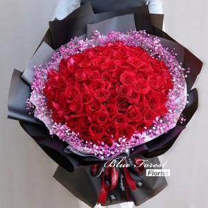 99枝紅玫瑰配滿天星花束(可選白色/黑色包裝)