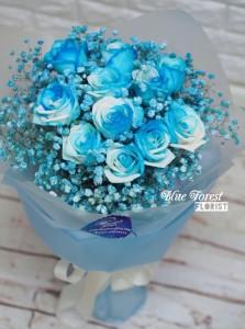 * [極緻罕有]荷蘭漸變色淺藍玫瑰花束*預訂*