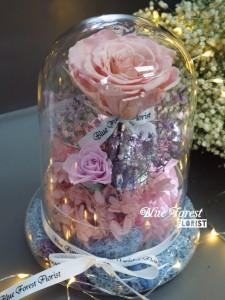 *保鮮•愛系列   *發光玻璃罩玫瑰保鮮花(粉紅色)*可免費刻上名或祝福字句