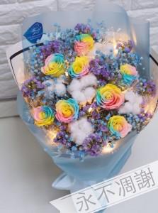 保鮮•愛*永不凋謝玫瑰保鮮花花束(彩虹玫瑰)