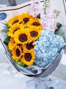 10支裝向日葵配荷蘭秀球大花束