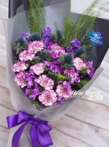 母親節精選*雙色紫白色康乃馨花束