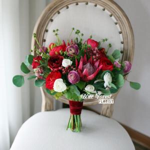 棗紅色小牡丹花球(仿真花)