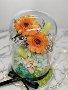 *保鮮•愛系列 *玻璃罩太陽花保鮮花(橙黃色)*可免費刻上名或祝福字句