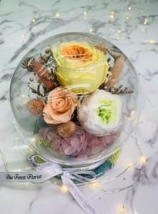 幸福水晶球系列 *玻璃罩玫瑰保鮮花(3拼色)Garden Rose)*可免費刻上名或祝福字句