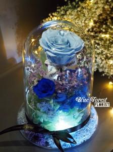 *保鮮•愛系列 *發光玻璃罩玫瑰保鮮花(淺藍色)*可免費刻上名或祝福字句