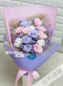 保鮮•愛*永不凋謝玫瑰保鮮花花束(淺紫色拼粉紅色10支裝)